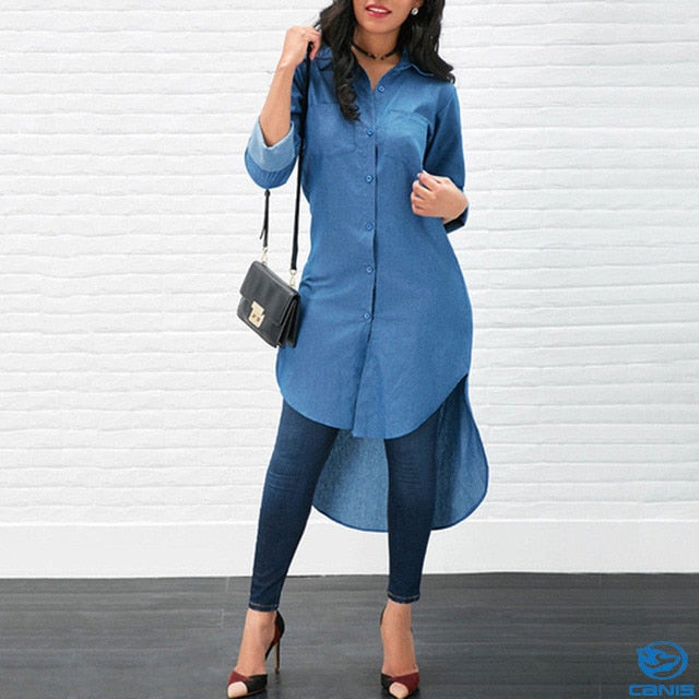 Long Casual Denim Blouse - SHOPPLEHUB