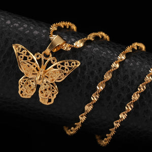 Gold Butterfly Statement Necklace