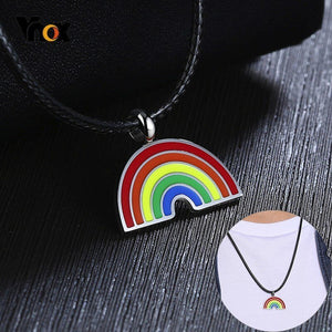 Unisex LGBT Rainbow Stainless Steel Necklaces - SHOPPLEHUB