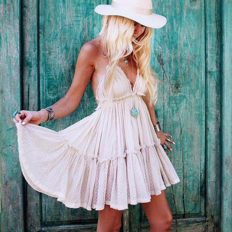 Strapless Beach Summer Boho Dress Women Backless Sexy Linen Dresses - SHOPPLEHUB