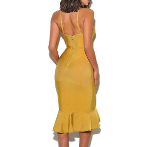 Ginger Yellow Mermaid Bandage Dress - SHOPPLEHUB