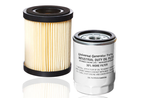 Generac 0G3332- ELEMENT AIR FILTER 85ODX107.5L and Universal Generator Parts  0868539E Oil Filter