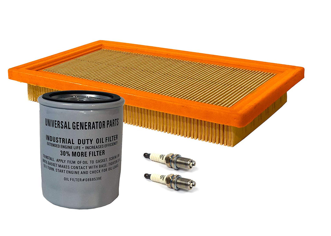 Universal Generator Parts Replacement Maintenance Kit for 14kW-22kW 999cc Standby Generators 2013-Air Filter, Oil Filter and Spark Plugs (Air, Oil and 496018T-U Spark Plugs)