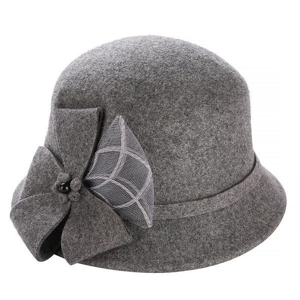 2eb00bf755c 100% Australia Wool Women s Winter Auturmn Floppy Brim flowers Fedora Hat  For Elegant laday Bucket ...