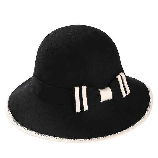 e9f52a1c1ad ... 100% Australian Wool Fedora Hat bowknot Noble Bowler Hats For Women  Wide Brim Formal Church ...