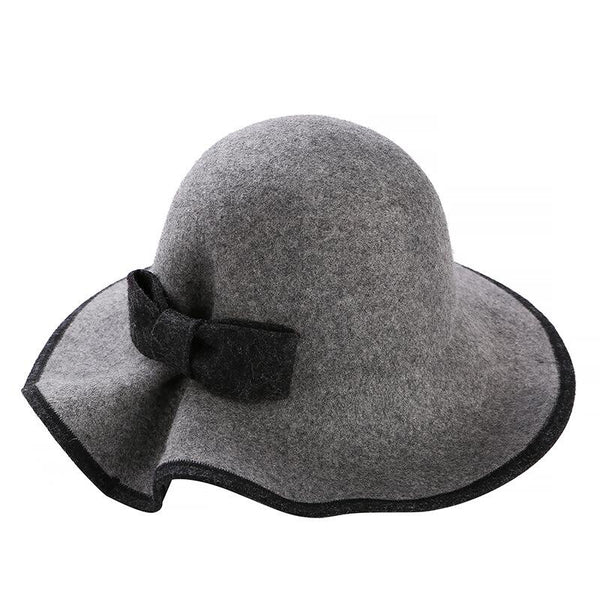 4775ba85eb9 100% Australian Wool Fedora Hat bowknot Noble Bowler Hats For Women Wide  Brim Formal Church ...