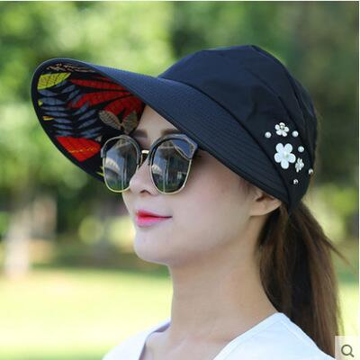 9e120e612f4 ... 1PCS women summer Sun Hats pearl packable sun visor hat with big heads wide  brim beach ...