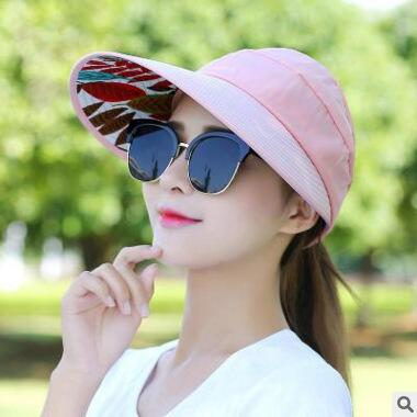 6c22b1c5f6383 ... 1PCS women summer Sun Hats pearl packable sun visor hat with big heads  wide brim beach