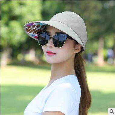 ... 1PCS women summer Sun Hats pearl packable sun visor hat with big heads  wide brim beach ... 18ca00f6380d
