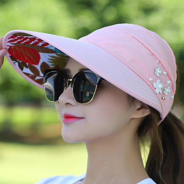 548ce603626 1PCS women summer Sun Hats pearl packable sun visor hat with big heads wide  brim beach ...