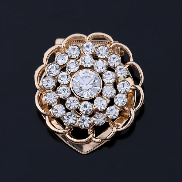 c29c70444 Gorgeous Clear Crystal Flower Scarf Buckle Brooch Pins for Women in Yellow  Gold Color Plated
