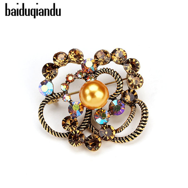 3d1cd7cc8 baiduqiandu Antique Gold Color Simulated Pearl Flower Brooches Rhinestone  Scarf Buckles Corsage Exquisite Pins For Women