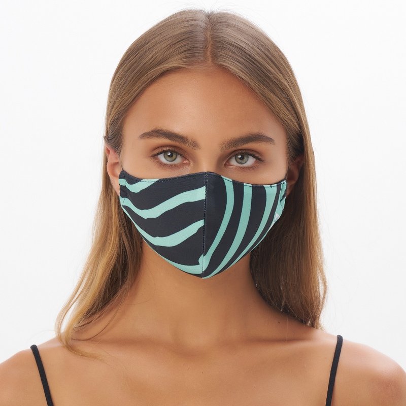 """Mint Zebra"" Sustainable Face Mask"