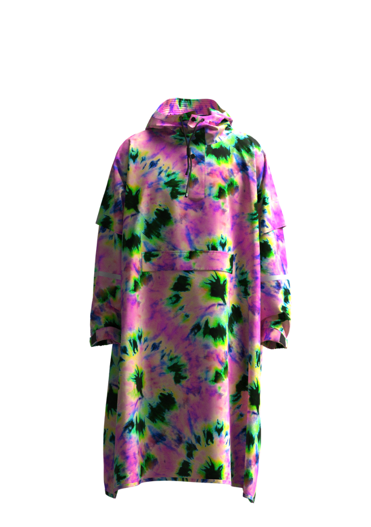 """Neon Daze"" Eco-Friendly Rain Poncho"