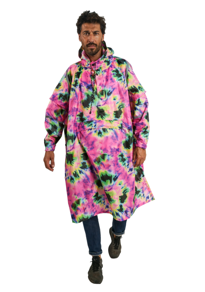 """Neon Daze"" Eco-Friendly Rain Poncho - 365Dry"