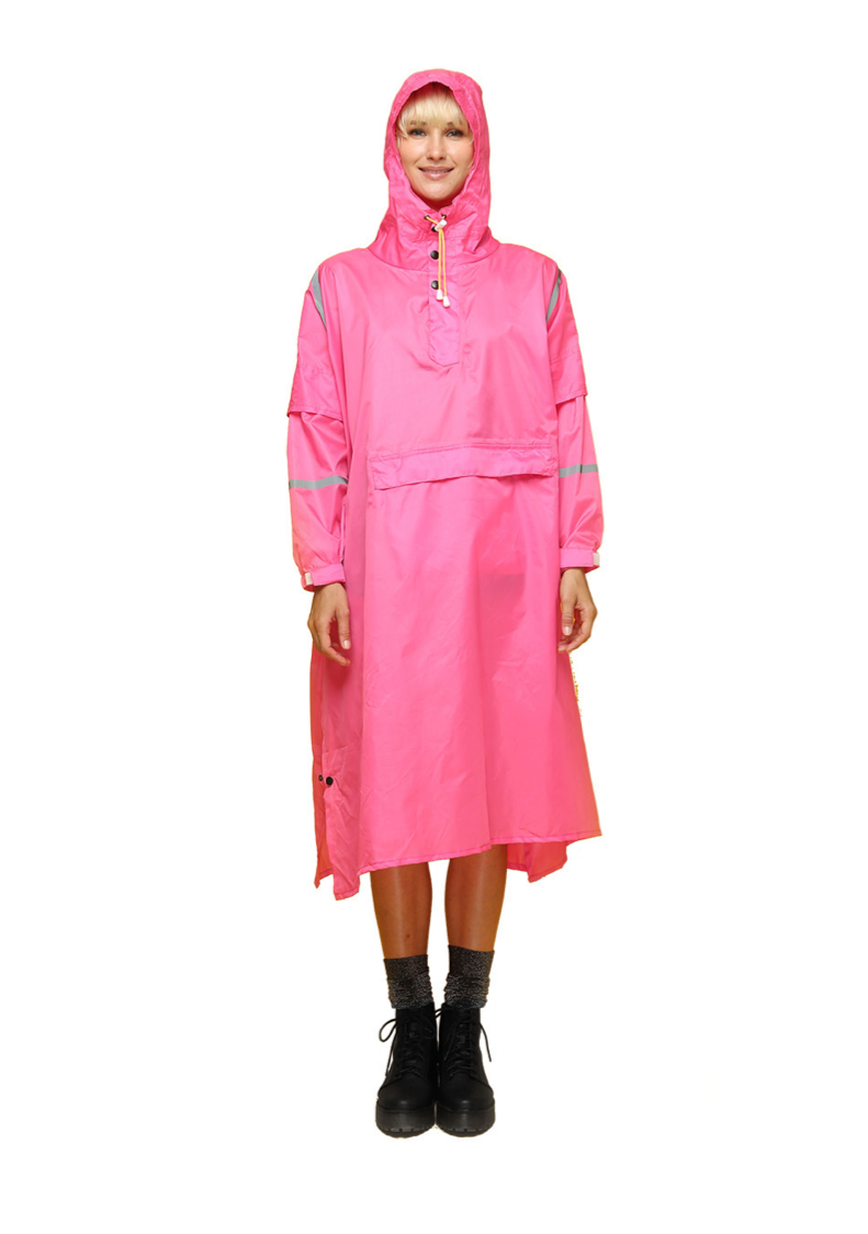 """Jaipur Pink"" Eco-Friendly Rain Poncho - 365Dry"