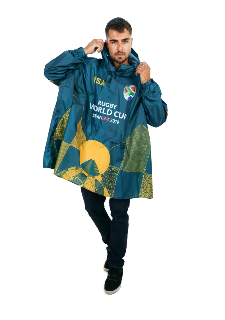 South Africa Official Rugby World Cup 2019 Eco-Friendly Unisex Rain Poncho - 365Dry