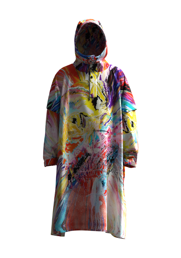 """Spin Skull"" The Original Eco-Friendly Rain Poncho"