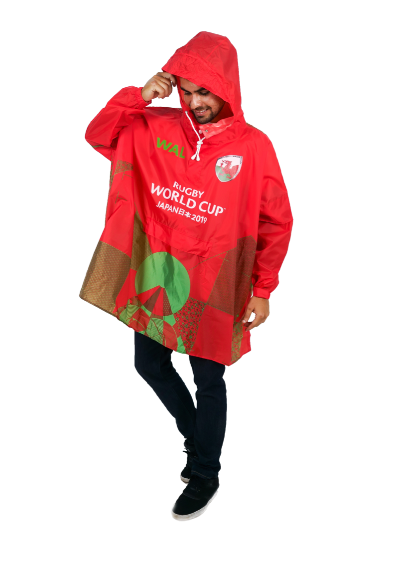 Wales Official Rugby World Cup 2019 Eco-Friendly Unisex Rain Poncho - 365Dry