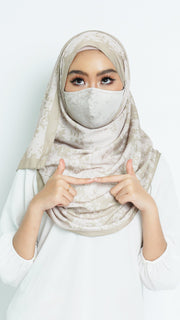 Face Mask with Matching Printed Hijab Grunge Series