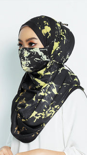 Face Mask with Matching Printed Hijab Marble Series
