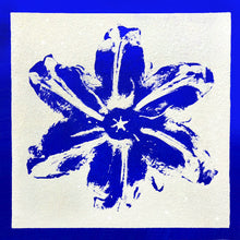 "Load image into Gallery viewer, ""Power Flower, Blue on White"" by Rubem Robierb"