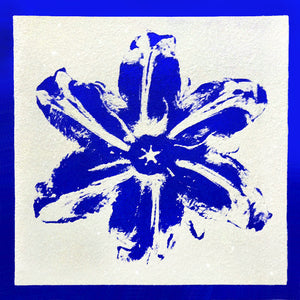 """Power Flower, Blue on White"" by Rubem Robierb"