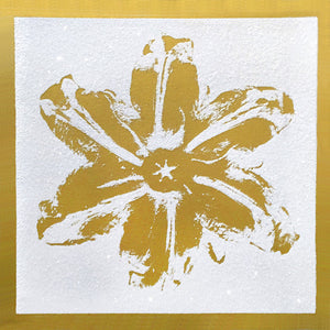 """Power Flower, Gold on White"" by Rubem Robierb"