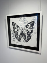 "Load image into Gallery viewer, ""Metamorphosis, Black Butterfly on White"" by Rubem Robierb"