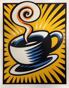 """Coffee Cup Yellow"" by Burton Morris"