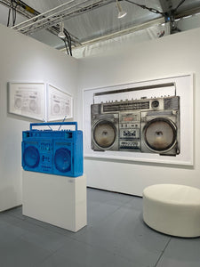 """White Trapezoid Boombox - version .001 (Left)"" by Lyle Owerko"