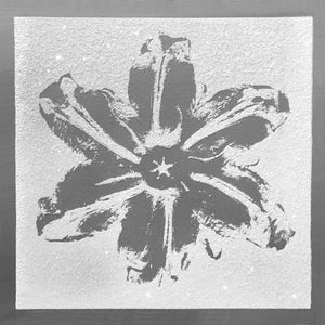 """Power Flower, Silver on White"" by Rubem Robierb"