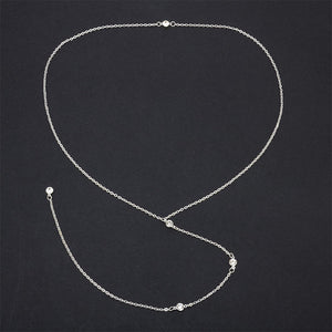 *FREE* Gold/Silver Long Back Crystal Pendant Chain Necklace
