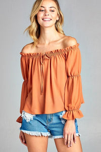 Women's Puff Long Sleeve Ruffled Front Tie Off Shoulder Top