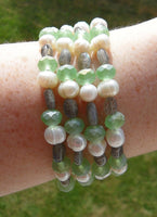 memory wire wrap bracelet - labradorite rice beads with chunky pearls and frosted AB mint green crystal rondelles - bridesmaid jewelry