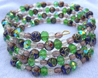 memory wire wrap bracelet - blue cloisonne flowers with Chinese crystal and crackle glass beads - one size fits all