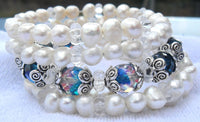 memory wire wrap bracelet - chunky pearls with two tone Czech crystal and spacers - bridesmaid jewelry