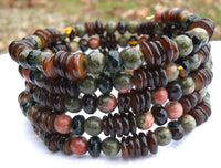 memory wire wrap bracelet - unakite and brown lip shell with Czech glass spacers - one size fits all