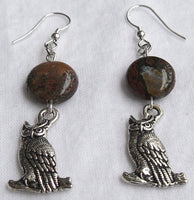 beaded dangle earrings - silver horned owl charms with ocean jasper accent - nature jewelry - lead-free US pewter