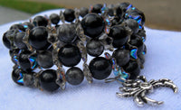 memory wire wrap bracelet - obsidian and feldspar with aurora borealis Czech glass spacers - includes lead-free spider charm