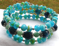 memory wire bracelet - blue crackle agate with green aventurine and sea blue glass - one size fits all - has matching earrings