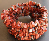 memory wire wrap bracelet - mahogany obsidian black and red chip beaded wrap - one size fits all