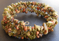 memory wire wrap bracelet - unakite chip beaded wrap - one size fits all
