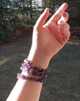memory wire wrap bracelet - violet chevron or cape amethyst beaded wrap - one size fits all - bridesmaid jewelry
