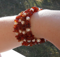 memory wire bracelet - heated Baltic amber chips and chunky freshwater pearls - one size fits all