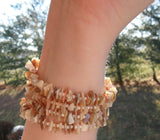 memory wire wrap bracelet - mother of pearl chip beaded wrap - one size fits all - bridesmaid jewelry