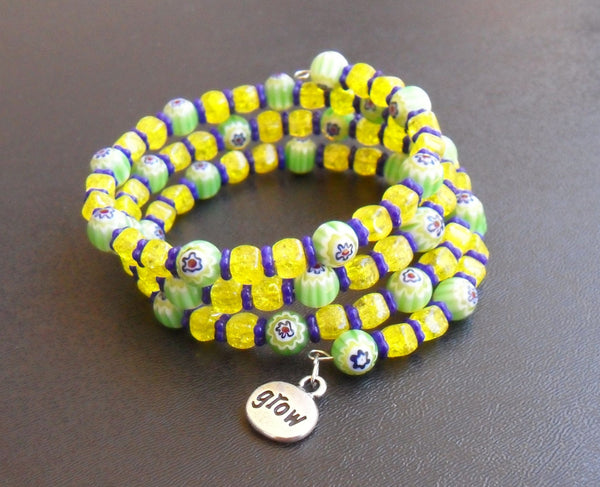 memory wire wrap bracelet - spring colors millefiori and Czech crackle glass with lead-free silver pewter flower grow charm