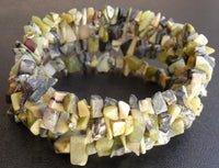 memory wire wrap bracelet - yellow serpentine chip beaded wrap - one size fits all