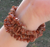 memory wire wrap bracelet - red marble chip beaded wrap - one size fits all