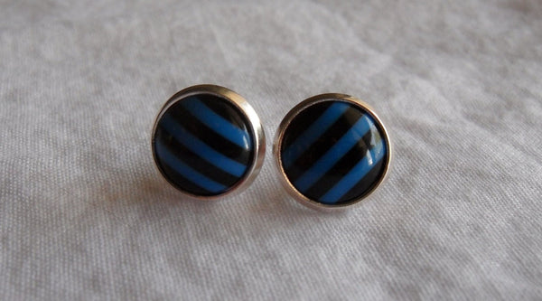 post earrings - kawaii acrylic and 12mm silver plated studs - black and blue stripe cabochons - nickel-free brass and stainless steel